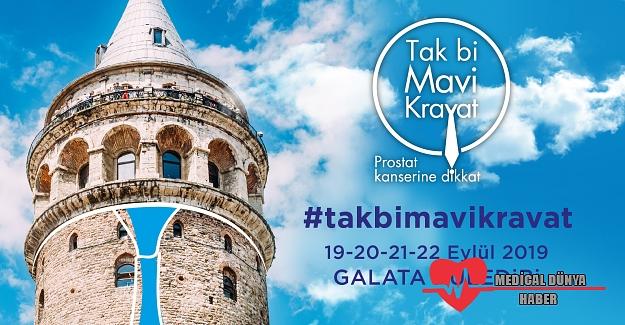 Prostat kanserine karşı Galata Kulesine mavi Kravat