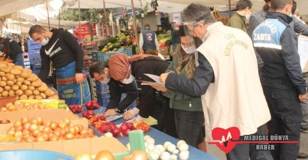 Pazarlarda satılan gıdalara Covid-19 denetimi